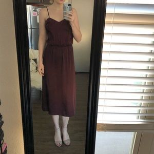 Deep purple satin midi dress.